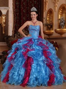 Multi-color Sweetheart Floor-length Organza Beading Sweet 15 Dresses
