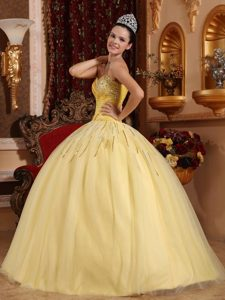 Sweetheart Floor-length Tulle Beading Light Yellow Sweet 16 Dresses
