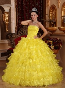 Beading Strapless Ball Gown Floor-length Quinceanera Dress in Yellow