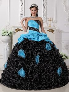 Sweetheart Beading and Rolling Flowers Quinceanera Dress in Blue and Black