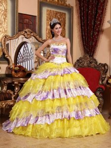 Multi-color Sweetheart Beading and Ruffles Organza Quinceanera Dress