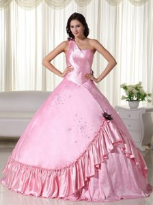 One Shoulder Floor-length Taffeta Beading Quinceanera Dress in Baby Pink
