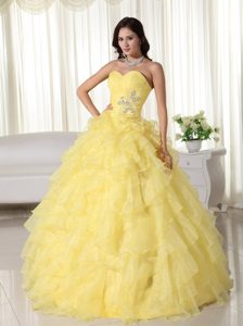 Yellow Appliques Sweetheart Ruffles Sweet Sixteen Quinceanera Dresses