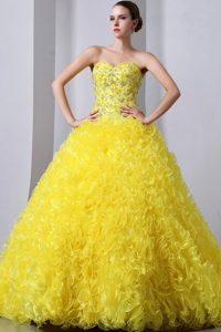 Sweetheart Brush Train Beading and Ruffles Quinceanea Dress in Yellow