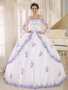 Square Neckline Embroidery White Quinceanera Dress with Long Sleeves