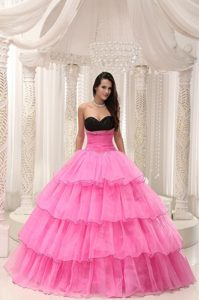 Rose Pink Sweetheart Beading and Layers Taffeta and Organza Dresses 15