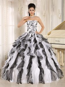 Black and White Strapless Embroidery Dresses For Quinceaneras with Ruffles