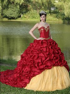 Wine Red Appliques and Pick-ups Quinceanera Dress with Brush Train
