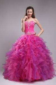 Appliques and Ruffles Sweetheart Floor-length Quinceanera Dress in Fuchsia