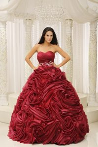 Wine Red Sweetheart Beading and Hand Flower A-line Quinceanera Dress
