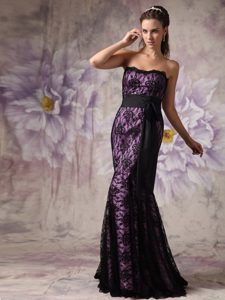 Mermaid Strapless Purple and Black Lace Prom Dress for Ladies