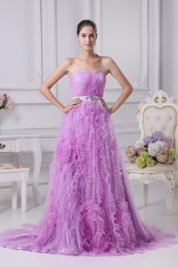 Beaded Lavender Brush Train Organza Prom Dress with Ruffles