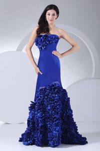 Chic Blue Mermaid Prom Dress With Hand Made Flowers Brush Train