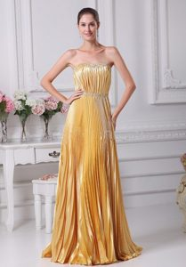 Pleat Over Skirt and Beaded Sash Gold Prom Dress in Colorado