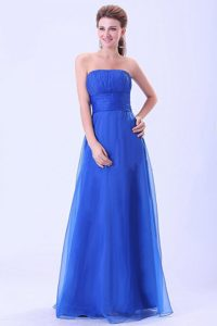 Cheap Organza Blue Strapless Ruched Prom Gown Dress Stores