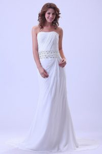 Simple Strapless Ruched White Court Train Prom Dress Designer