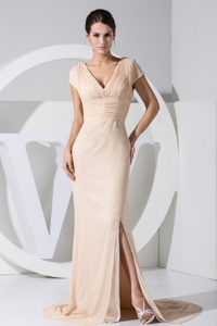 Champagne High Slit V-neck Brush Train Prom Dress in Georgia