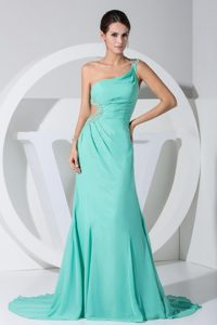 Turquoise Beads One Shoulder Prom Dress with Waist Cut in 2013