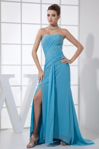 Blue Strapless Beaded Dresses for Prom Princess for Wholesale