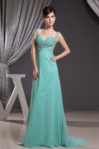 Straps Ruched Beaded Turquoise Prom formal Dress in Norfolk