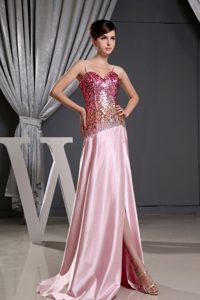 Spaghetti Straps Ruched Sequins Baby Pink Prom Dress for Girls
