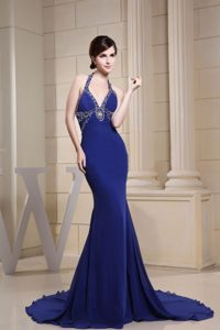 Extravagant Mermaid Halter Beaded Blue Prom Dress Brush Train