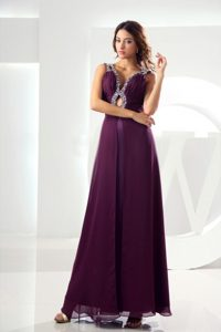 Empire V-neck Beaded Ruched Purple Long Dress for Prom Queen