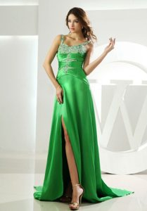 Low Price Spring Green Beaded Straps Prom Dress with Slit