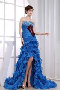 High-low Mermaid Organza Royal Blue Prom Dress Beading Ruffled