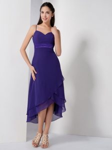 Simple Style Spaghetti Straps High-low Purple Dress for Prom