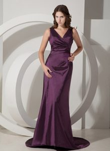 Fitted Column V-neck Sweep Train Purple Prom Evening Dress