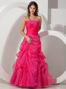 Strapless Pick Ups Hot Pink Beaded Prom Celebrity Dresses