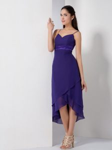 Chiffon Spaghetti Straps High-low Purple Dress for Prom Queen