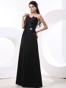 New Floor-length Black Ruched Beaded Derbyshire Prom Dress