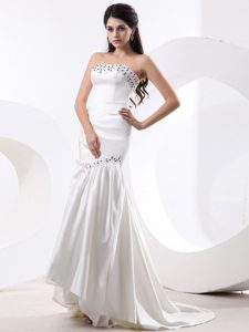 California Mermaid Prom Gown Dress With Beading and Brush Train