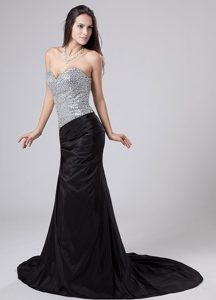 Elastic Woven Satin Black Beaded Sweetheart Court Prom Dress
