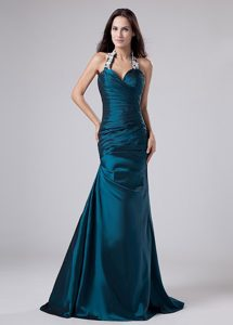 Appliques Halter Turquoise Taffeta Ruched Prom Dress for Cheap