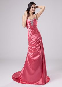 Rose Pink Beaded Column Halter Brush Prom Dress in Arkansas