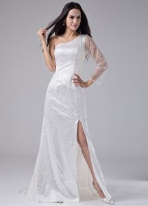 High Slit White One Shoulder Single Sleeve Prom Dress Sequined