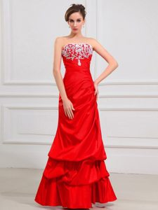 Red Lace Strapless A-Line Taffeta Prom Dress with Pick-ups