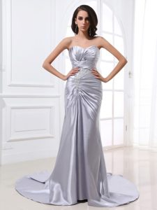 Silver Satin Ruched Prom Dress With Beading and Brush Train