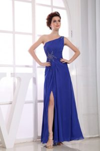 Fashionable One Shoulder Beaded Slitted Blue Prom Party Dress