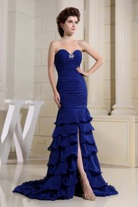 Blue Ruffled Layers 2013 Sweetheart High Slit Prom Dress Ruched