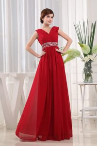 Straps V-neck Chiffon Empire Beaded Red Prom Dress with Ruche