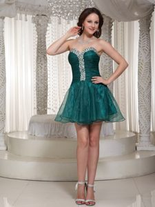 Best Peacock Green Puffy Mini Prom Dress with Rhinestones