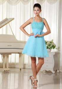 Spaghetti Straps Bow Pleated Aqua Blue Short Prom Dress