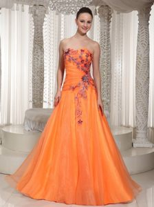 Orange Princess Dress for Prom Queen with Flowers Appliques