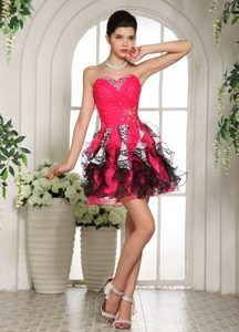 Cheap Pretty Hot Pink and Black Beaded Prom Cocktail Dresses