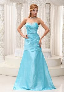 Popular Brush Train Aqua Blue Long Prom Party Dress Online