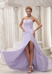 Cheap Halter Slitted Beaded Lilac Prom formal Dress under 150